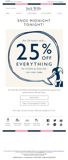 Jack Wills April Fools Email With Code Fool For 25 Off Emailmarketing