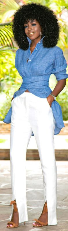 Tie Waist Denim Shirt + Front Slit Pants // Fashion Look by Style Pantry