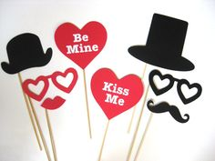 Items similar to Photo Booth Props - Valentine's Day 8 piece set - Photobooth Props on Etsy Valentines Games, Valentines Day Party, Valentines Day Decorations, Valentines For Kids, Valentine Ideas, Wedding Photo Booth, Photo Booth Props, Photo Booths, Cute Crafts