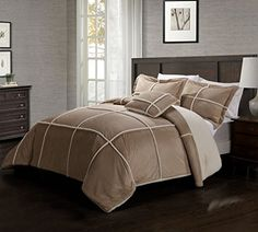 8 Piece King Microsuede Sherpa Bed in a Bag w/500TC Cotton Sheet Set Taupe KingLinen, $110