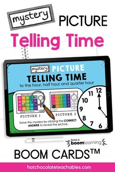 My students always need extra practice TELLING TIME. This set of digital Boom cards is a great way to provide additional practice telling time to the HOUR, HALF HOUR and 15 Minutes. Your students will have access to 2 different mystery pictures to reveal! 2 different mystery pictures are included/ 40 different clock times Students are asked to tell the time on each clock. To reveal a piece of the hidden picture, they must click the CORRECT TIME (o'clock, half past, quarter to, quarter past) English Vocabulary Games, Grammar And Vocabulary, Teachers Pay Teachers Free, Time To The Hour, Teacher Must Haves, Correct Time, Classroom Language, Telling Time, Educational Games