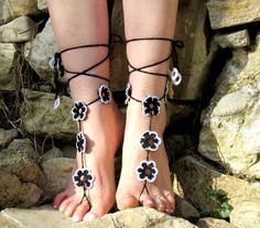 Crochet Barefoot Sandals Flower Sandles Black by EmofoFashio