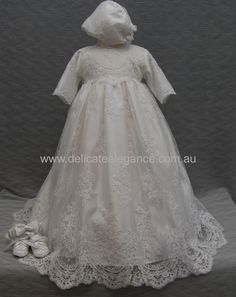 4260: Girls' White Lace Christening Gown