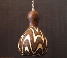 Hanging gourd lamp IV Made for individual order. It's quite small hanging lamp made of gourd from my own growing. The white waves is deeper layer of whi. Pyrography Patterns, Gourds Birdhouse, Decorative Gourds, Gourd Lamp, Painted Gourds, Creation Deco, Cool Lamps, Diy On A Budget, Lamp Design