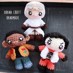 Finn , Rey , Poe Dameron Crochet Amigurumi https://www.facebook.com/OhanaCraft/