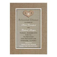 Country Wedding Rehearsal Dinner Rustic Burlap Rehearsal Dinner Invitation