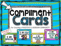 These are like Brag Tags but I dont like to use the word BRAG.  Ive never heard any bragging that I liked, so I  dont want my students to think its okay to brag...Especially since this is a Character Education Unit.Each student will get a book ring with the first card that says Compliment Cards. (Print, laminate, cut and punch.)Each student will get a card with their name on it. (Type names into editable ppt slide, print, laminate, cut, and punch.)Each child will get the I am Special…
