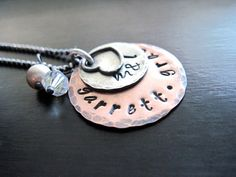 Hand Stamped Mommy Necklace Oxidized Copper by DesignsByTahra, $45.00