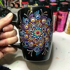 Husband Illustrates Everyday Life With His Wife, Proves Love Is In The Little Things Mandala Art, Mandala Canvas, Mandala Rocks, Mandala Painting, Dot Art Painting, Pottery Painting, Ceramic Painting, Stone Painting, Cup Decorating