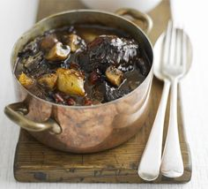 Boeuf bourguignon. Ingredients: beef cheeks or shin, olive oil, streaky bacon, shallots, carrot, onion, celery, chestnut mushrooms, thyme, bay leaf, parsley, tomato puree, red wine, veal or dark chicken stock. Gordon Ramsay's recipe from BBC good food.