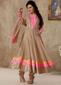Cbazaar Dashing Beige Ankle Length Anarkali Suit