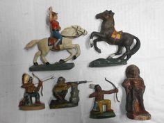 Konvolut 6 alte DDR Massefiguren Wildwest Indianer Cowboys Pferde zu 7.5cm   eBay