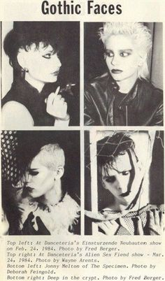 goth top left : At NYC nightclub Danceteria, Einstrzende Neubauten show feb. 24 1984 top right : At NYC nightclub Danceteria, Alien Sex Fiend show mar. 80s Goth, 80s Punk, Punk Goth, Goth Art, Grunge Tattoo, Vintage Goth, Punk Fashion, Gothic Fashion, 1980s