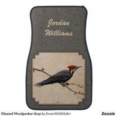 Pileated Woodpecker Gray Floor Mat
