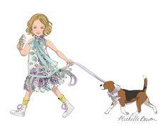 Ilustración arte grabado 11 por 14 niños, con una pequeña niña caminando con su cachorro y tener un helado, arte de la pared
