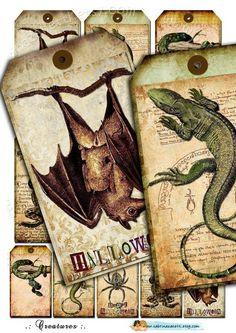 Creepy Halloween Labels  Digital sheets CREATURES vintage tags #creepy #halloween #labels www.loveitsomuch.com