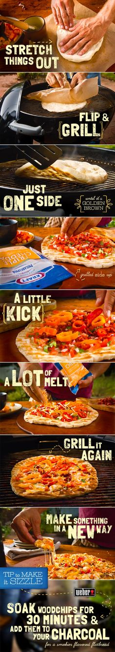 Great Recipes, Dinner Ideas and Quick & Easy Meals from Kraft Foods - Kraft Recipes I Love Food, Good Food, Yummy Food, Tasty, Grilled Pizza, Grilled Flatbread, Smoking Recipes, Lunches And Dinners, Meals