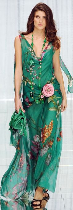 I'd lose the pink rose, first thing. but everything else is beautiful. Elie Saab ~ Mint Green Floral Summer Maxi Dress 2015.