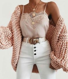 Bubble knit cardigan outfit idea for fall! Casual outfit with a cardigan, lace c. - Bubble knit cardigan outfit idea for fall! Casual outfit with a cardigan, lace cami, and white high - Cute Casual Outfits, Stylish Outfits, Stylish Clothes, Hipster Outfits For Women, Trendy Fall Outfits, Mode Outfits, Fashion Outfits, Fashion Trends, Womens Fashion