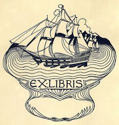 [Bookplate]  Description: States, ',' with blank space for the owner's name; depicts sailing ships on the ocean. Unsigned.   Format: 1 print, col., 12 x 11 cm.   Source: Pratt Institute Libraries