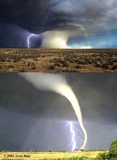 Meteorological Triptych---tornado, lightning and rainbow