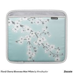 Floral Cherry Blossoms Mint White iPad Sleeves