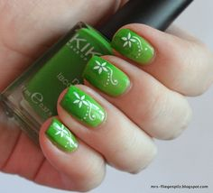 Green Gradient Nails with Stamping