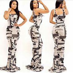 Extra! Extra Maxi Dress Newspaper floor length maxi dress. Dresses Maxi