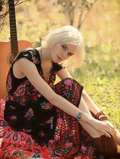 Bohemian Floral Cap Sleeve Deep V Neck Elastic Waist Maxi Dress