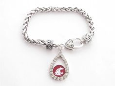 Washington State Cougars NCAA Teardrop Clear Crystal Silver Bracelet