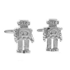 """""""Robot""""   Dōmo arigatō, Mr. Roboto. Show your love of all things robot (and ingratiate yourself to your captors in the event of an alien invasion) with these fun cufflinks.  Also perfect for any man whose significant other keeps suggesting that he has no emotions or is """"dead inside""""."""