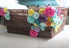 Flower embellished basket