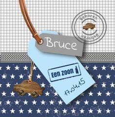 Geboortekaartje Bruce | Blijkaartje.nl Stoer, sterren, jongen, label, stempel
