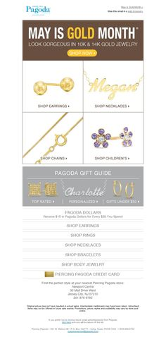 Example of PIERCING PAGODA branded email promoting GOLD styles