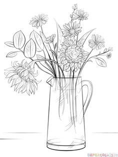How to draw a Bouquet of Flowers | Step by step Drawing tutorials