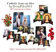 """""""Catholic icons on tiles by TerryTiles2014"""" by terrytiles2014 ❤ liked on Polyvore featuring art, love, catholic, faith and religious"""