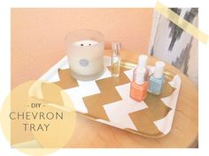 DIY Chevron Accessory Tray ...awesome idea!