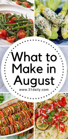 What to Make in August? Here are some ideas for recipes and tips that will keep you cooking with in season fruits and veggies-- all month-long. Summer Grilling Recipes, Summer Recipes, New Recipes, Dinner Recipes, Cooking Recipes, Favorite Recipes, Amazing Recipes, Healthy Menu, Hair Beauty