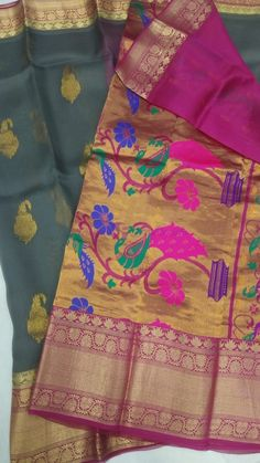 Kanchi organza silk sarees with paithani pallu Kanchi Organza Sarees, Silk Sarees Online, Exclusive Collection, Pure Products, Color, Colour, Colors