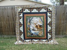 Quilts Made with Panels - Bing Images Quilting Projects, Quilting Designs, Quilting Ideas, Sewing Projects, Moose Quilt, Wildlife Quilts, Deer Wallpaper, Homemade Quilts, Quilt Border