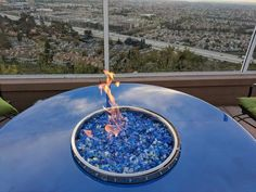 Outdoor wine barrel fire pit table