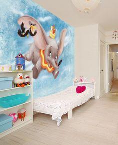 Disney Classics - Dumbo - Wall mural, Wallpaper, Photowall, Home decor… Dumbo Nursery, Disney Nursery, Elephant Nursery, Girl Nursery, Disney Playroom, Disney Wallpaper, Of Wallpaper, Bedroom Wallpaper, Deco Disney