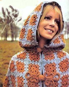 Bohemian jacket, hippie style cardigan, hooded sweaters Crochet Bolero, Poncho Au Crochet, Crochet Cape, Crochet Jacket, Knit Crochet, Point Granny Au Crochet, Cloak Pattern, Hood Pattern, Crochet Vintage