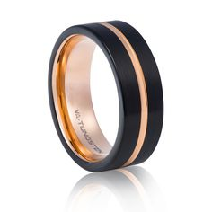 TUR 800 - 8mm Men's Tungsten Carbide Wedding Ring.Matt, black and rose gold plating