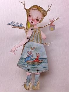 OOAK Original Hand Painted Paper Doll  Traveler by GentlyEthereal, $28.00