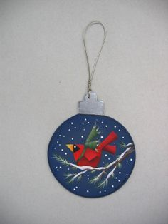 Christmas Ornament with Red Cardinal on Pine by barbsheartstrokes, $9.00