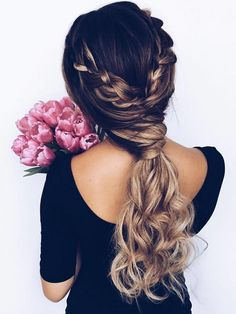 Trendiest Braided Hairstyles 2016: Braid Wrapped Criss-Cross Low Ponytail #braids #hair #braidedhair