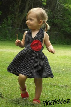 "Rockabilly black with white polka dots and red rosette or color of choice rosette ""Rita"" 1950's retro halter sundress"