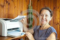 Woman Near The Printer Pulls Paper Stock Photo - Image of life, interior: 26854986 Wireless Printer, Woman Standing, Royalty, Middle, Internet, Stock Photos, Chair, Paper, Image