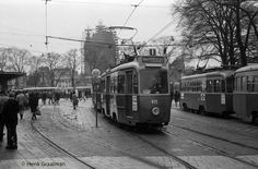 1950's. A view of the Stationsplein with tram line 25 across Centraal Station in Amsterdam. Photo Henk Graalman. #amsterdam #1950 #Stationsplein
